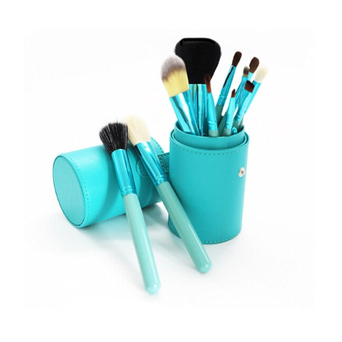 失望従順なアルネ化粧筆 ファンデーションブラシ スタイリッシュなスタイルの初心者の化粧ブラシ化粧ブラシ付きの化粧ブラシの12セットと化粧ブラシ付きのブラシ (色 : 青)