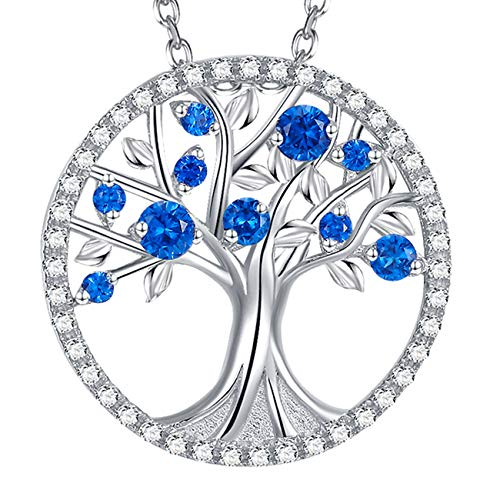GinoMay Piedra Natal de Septiembre Collar de Zafiro Azul Collar Árbol de la Vida para Mujer Regalos de Cumpleaños Plata de Ley 925 Joyería Fina