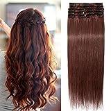 TESS Echthaar Extensions Clip in Rotbraun #33 Remy Haar Extensions guenstig Haarverlängerung 18 Clips 8 Tressen Lang Glatt, 16'(40cm)-65g