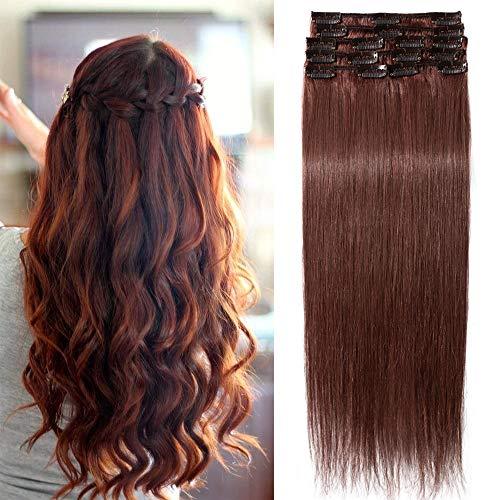 TESS Echthaar Extensions Clip in Rotbraun #33 Remy Haar Extensions guenstig Haarverlängerung 18 Clips 8 Tressen Lang Glatt, 16
