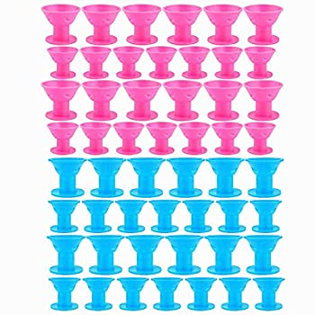 TANG SONG 40PCS Hair Curlers Rollers Hair Care Roller Silicone No Clip Hair Style Rollers Soft Magic DIY Curling Hairstyle Tools Hair Accessories (Pink & Blue