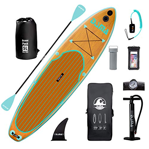 """DAMA 10'6""""x32""""x6"""" Inflatable Stand Up Paddle Board, Yoga Board, Camera Seat, Floating Paddle, Hand Pump, Board Carrier, Waterproof Bag, Drop Stitch, Traveling Board for Surfing"""