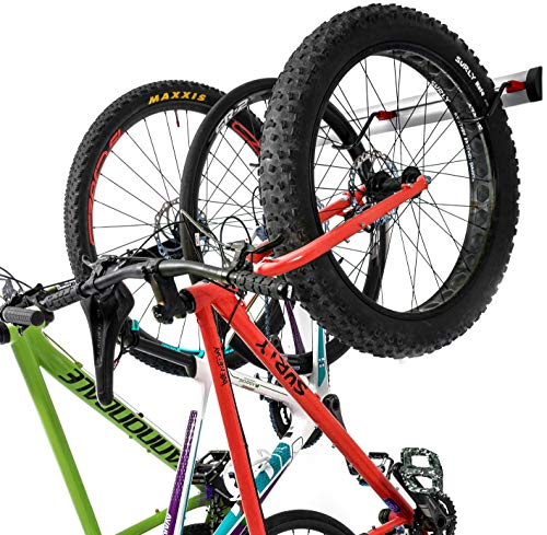 Bike Wall Rack for 3 Bikes - Adjustable Indoor Bicycle Storage Mount for Garage or Home - Vertical Cycling Hanger - Secure Hook - Holder for Road or Mountain Bicycles (3 Bike Wall Rack)
