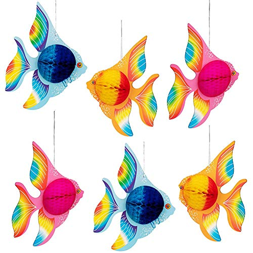 Decoración de Peces Tropicales, NALCY Peces Tropicales de Papel, Goldfish Decoraciones para Fiestas Suministros Decoración Colgante para Boda Fiesta de Cumpleaños Decoración (6 Piezas )