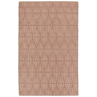 Rivet Sunset Textured Geo Pattern Wool Area Rug, 4' x 6', Pink