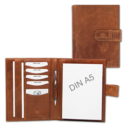 ALMADIH Leather A5 Writing Case Premium Cow Leather brown deluxe – Writing Pad Personal Organiser Conference Folder System Planner Portfolio Folio Workbook Datebook Schedule Diary Organizer Sleeve Document CV