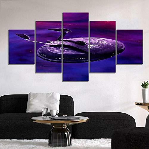 Star Trek vaisseau spatial 5 pièces espace toile mur Art peinture HD imprimer décor à la maison photos 5 panneau affiche encadrée