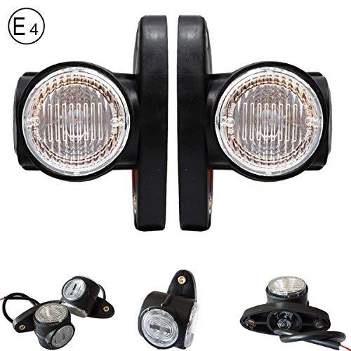Paar 3 Farbe LED 12V / 24V Begrenzungsleuchten Positionsleuchten Seitenmarkierung Umrissleuchte LKW PKW Anhanger E-prüfzeichen