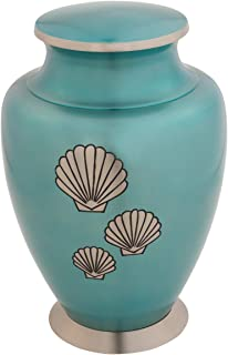 Silverlight Urns Shells of The Sea Brass Urn, Turquoise Cremation Urn for Ashes, Adult Funeral Urn, 10 Inches High
