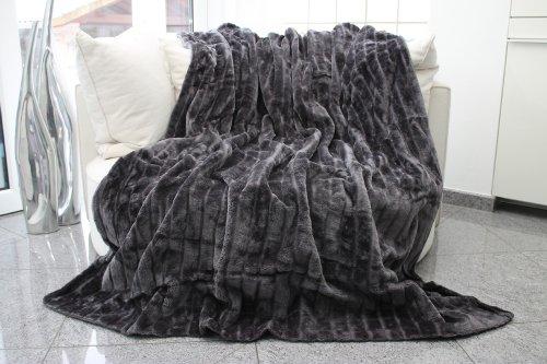 Brandsseller Manta de piel de alta calidad, manta de salón, manta de visón, manta de piel sintética, colcha XXL (gris)
