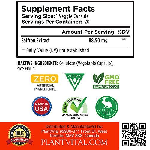 Pure Saffron Supplement Appetite Suppressant 180 Powerful Golden