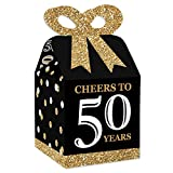 Big Dot of Happiness Adult 50th Birthday - Gold - Square Favor Gift Boxes - Birthday Party Bow Boxes - Set of 12