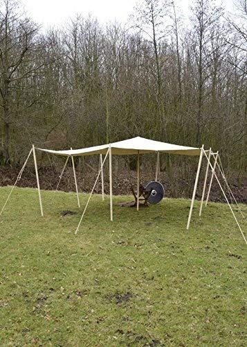 Battle-Merchant Hochwertige reißfeste Lagerplane/Sonnensegel mit Schlaufen, 250g/m², naturfarben Zeltplane LARP Verschiedene Größen (Größe 2 x 2 m)