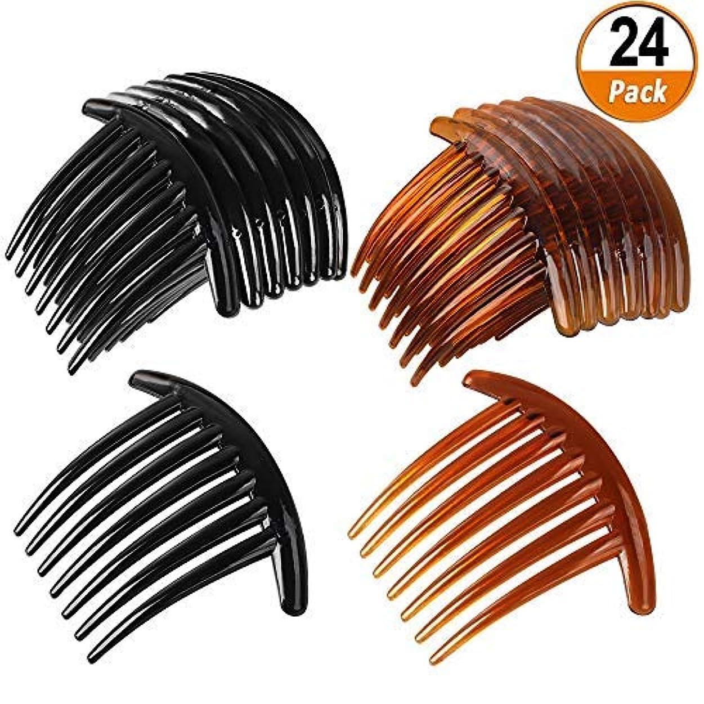 記憶に残る滅びる故障中24 PCS 7 Tooth French Twist Comb Plastic Hair Clip Hair Side Combs Hair Accessory for Women Girls (Black and Brown) [並行輸入品]