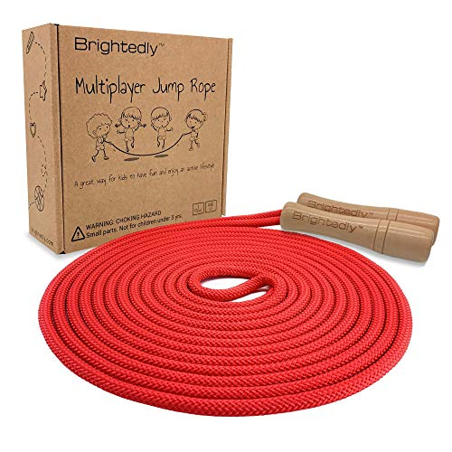 Brightedly 16 FT Long Jump Rope for Kids, Multiplayer, Adjustable | Classic Look Wooden Handle | Durable Kids Jumping Rope, Skipping Rope, Outdoor Fun, Great as a Gift, Party Game, Party Favor - Red