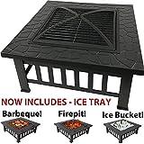 RayGar 3-in-1 Quadratische Feuerstelle für Terrassenofen aus Metall mit Schutzabdeckung (jetzt inkl. Eiswürfel) FP39 – neu, Schwarz