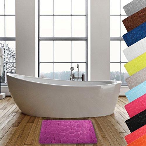 MSV 2108396 Galets Tapis de Bain Violet 40 x 60 cm