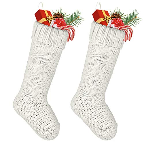 ROSFORU Weihnachtsstrümpfe Strümpfe aus Gestrickte, 2 Pieces Beige Befüllen und und Aufhängen 46cm Geschenk-Socken, 18-inch groß Christmas Stockings Hängende Strümpfe für Weihnachtsdeko/Geschenk
