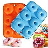 Moldes de silicona para donuts, moldes antiadherentes, para 6 donuts, bagels, magdalenas, 2 unidades, 6 cavidades (azul + naranja)