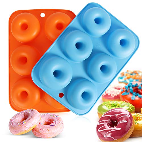 Silicone Donut Molds, 2 Pack 6 Cavity Non-Stick Silicone Donuts, Baking Mould pastry Molds Donut Mold for 6 Donuts ,Bagels, Muffins (Blue +Orange)