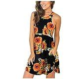 RONGYP Vestido de verano para mujer, elegante estampado, vestido de ocio, cuello redondo, vestido medio, ligero, corte ajustado, volantes, para playa, línea A, vestido de cóctel con bolsillos. Negro L