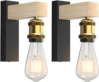 Applique Interieur, Martll Lampe Murale en bois E27 Vintage Rétro Intérieure Applique Murale pour le Couloir Maison de cam...