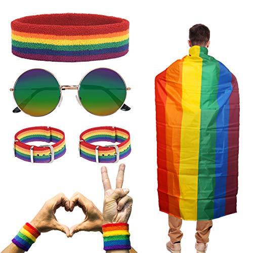 HAKOTOM 5 Pezzi Gay Pride Day Accessories Set Arcobaleno lesbico Unisex Fascia per lo Sport,Occhiali,Cinturino per Bracciale per Eventi di Orgoglio,Festival per Feste,Esercizi Sportivi