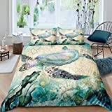 feelyou Sea Turtle Bedding Set 3D Reptile Printed Duvet Cover Set for Kids Boys Girls Marine Life Ocean Themed Comforter Cover Aquatic Animal Decor Quilt Cover with 1 Pillowcase 2Pcs Bedding Twin