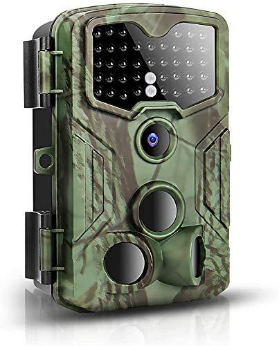 Wildkamera 16MP 1080P FHD Wildkamera mit Bewegungsmelder Nachtsicht,0.2sek. Reaktionszeit Wildtierkamera,120°Erfassungsbereich,3PIR-Sensoren Fotofalle 40 Black-LEDs Jagdkamera Wasserdicht&Staubdicht