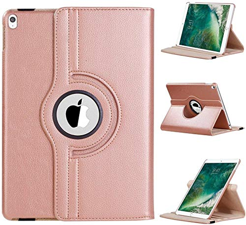 360 Rotating Case for iPad 10.2 2020/2019, Rotating Stand Protective Cover for iPad 8th Gen/iPad 7th Gen With Hand Strap and Smart Cover for iPad 10.2 (Rose Gold)