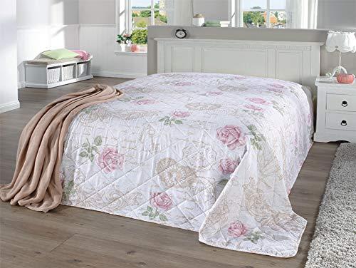 MB Warenhandel24 Tagesdecke XXL Allzweckdecke ca. 220x240 Patchwork Landhaus Sofa Bettüberwurf (Paris Rose)