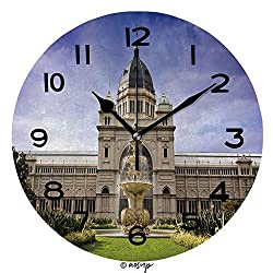 ALUONI 10 Inch Round Face Silent Wall Clock Royal Exhibition Building Behind Carlton Gardens in Melbourne, Victoria, Australia Unique Contemporary Home and Office Decor SW125194