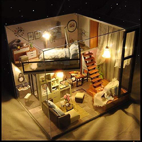 3D DIY Puppenhaus Haus Handgefertigt Spielzeug Miniatur Holzhaus Möbel Zubehör Holz Puppenhaus Handwerk Miniatur Kit Mit Staubschutz Spieluhr als Kinder Geschenk