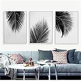 Carteles de lienzo de hojas de palmera gris blanco negro impresiones pintura minimalista arte de pared cuadro decorativo estilo nórdico decoración del hogar 3PCS 50x70cm Frameless