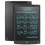 NEWYES 12 Tableta de Escritura LCD, Tableta gráfica, Ideal para hogar, Escuela u Oficina. Pilas Incluidas y 2 Imanes para la Nevera -Negro