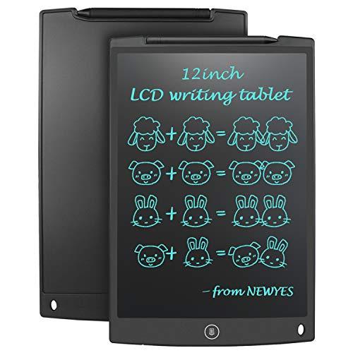 """NEWYES 12"""" Tableta de Escritura LCD, Tableta gráfica, Ideal para hogar, Escuela u Oficina. Pilas Incluidas y 2 Imanes para la Nevera -Negro"""