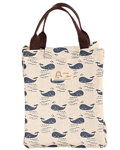 Outflower Animal Canvas Lunch Bag Foldable Travel Picnic Cooler Bag Food ContainerWhale