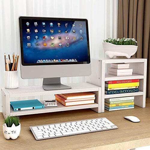 Soporte para monitor de escritorio de madera, para ordenador, monitor de televisión, elevador, teclado, bolígrafo, almacenamiento con cajón-blanco_2 niveles+armario lateral Baifantastic