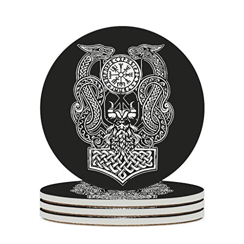 Fineiwillgo Viking Odin Dragon Ceramic Coasters, Non-Slip Round Ceramic Glass Coaster with Cork Base, Personalised for Bar Glass, Diameter of 9.8 cm, White, 4 Pieces