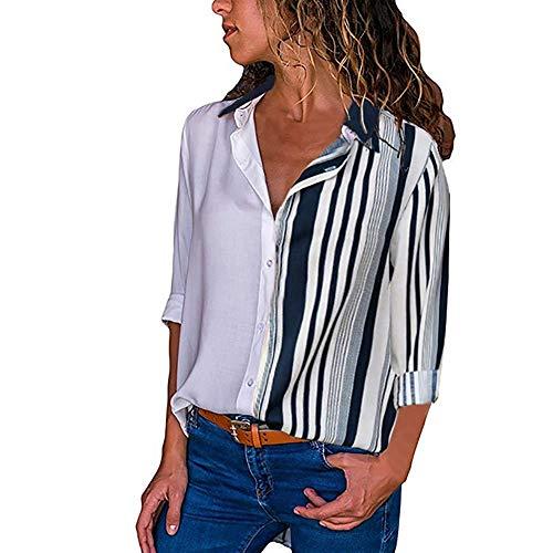 Overdose Blusa para Mujer OtoñO Primavera Nueva Mejor Venta De Moda Casual De Manga Larga Color Block Stripe Button Camisetas Tops (L, A-Multicolor-6)