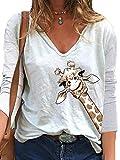 Camiseta Divertida Camiseta Estampada con Capucha y Estampado de Jirafa Mujer Camiseta Divertida Inspirada Camiseta de Manga Larga Camisetas para niñas Adolescentes Tops S-XXXL