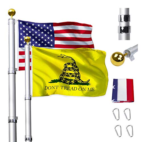 Klvied 16FT Telescopic Flag Pole, Heavy Duty Aluminum Flagpole Kit Fly 2 Flags, Outdoor Extra Thick Flag Pole with 3x5 America Flag, Golden Ball Top for Commercial, Residential, Outdoor Use