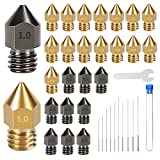 3D Printer Nozzles 30PCS Hardened Steel and Brass MK8 Nozzles 0.2mm, 0.3mm, 0.4mm, 0.5mm, 0.6mm, 0.8mm, 1.0mm with Cleaning Tool Kit for Makerbot Creality CR-10/ Ender 3/5
