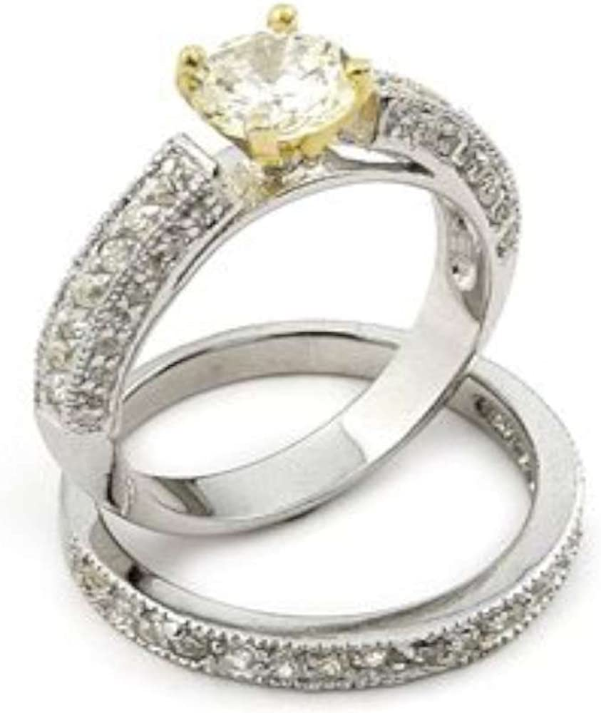 Gold-Pronged 2cttw Engagement and Wedding Band Set New Shipping Safety and trust Free Ring Sterling