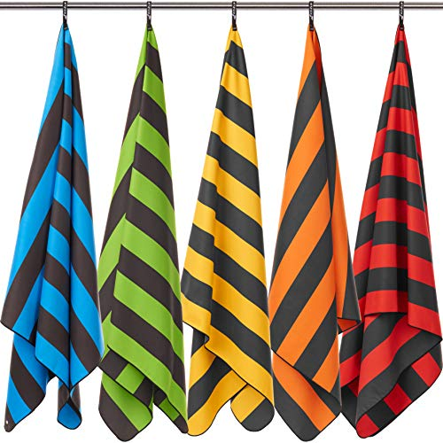 Fit-Flip Strandhandtuch XXL 200x90cm / Orange - Dunkelgrau gestreift- Handtuch 200, Decke im Beutel, Strandtuch leicht groß, mikrofaser Handtuch 200x90