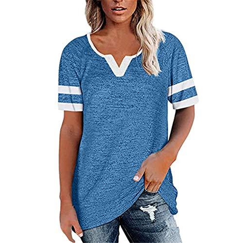 ZFQQ Camiseta Casual de Manga Corta con Cuello en V y Costura de Primavera y Verano Top Suelto