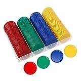 favourall Pokerset Mit 160 Farbigen, Plastic Poker Chips Spielmarken Plastechips -