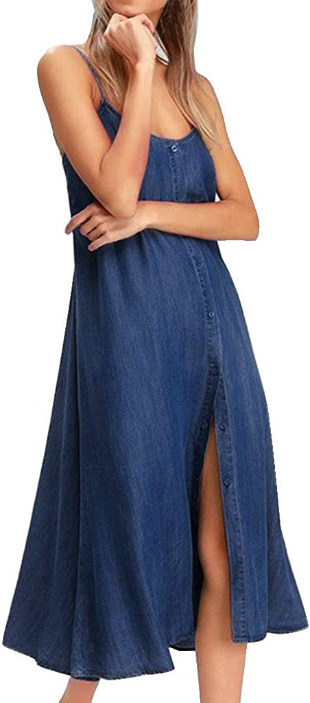 Forthery Women's Summer Spaghetti Strap Dresses Casual Denim Deep V Neck Loose Button Down Maxi Dress