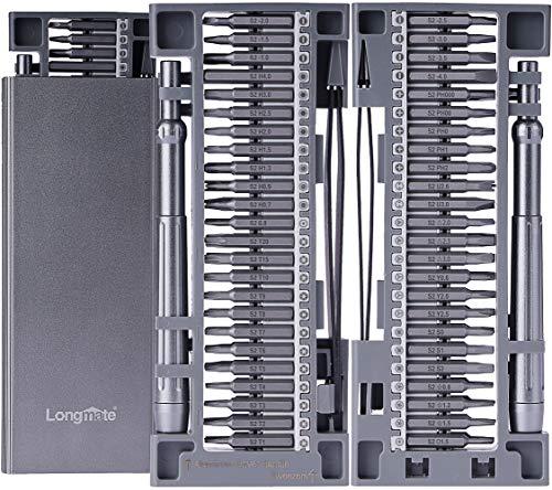 Longmate Präzisions-Schraubendreher-Set, magnetisches Elektronik-Reparaturwerkzeug-Set mit hochwertigem S2-Werkzeugstahl-Treiber-Bit und Aluminiumgehäuse für Handy, Haushalt DIY Reparatur (50 in 1)
