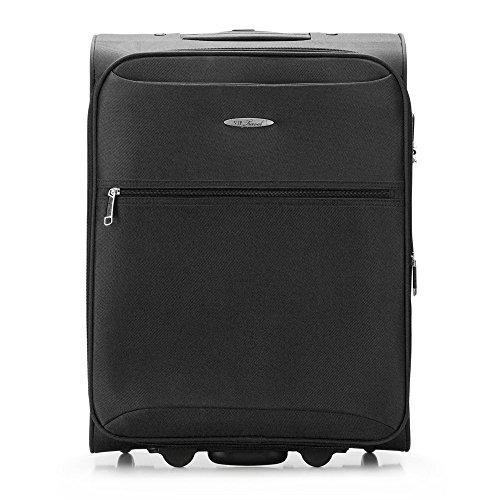 WITTCHEN Koffer – Handgepäck | Textil, Material: Polyester | hochwertiger und Stabiler | Schwarz | 45 L | 55x40x23 cm